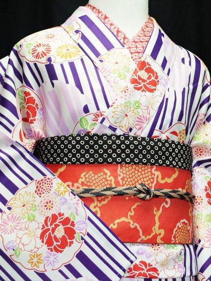 化繊 袷の小紋 ☆☆☆☆☆ 【D/M/W】 (68/160/49.5) 縞 雪輪 植物紋 【新品】-1