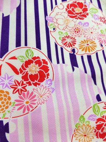 化繊 袷の小紋 ☆☆☆☆☆ 【D/M/W】 (68/160/49.5) 縞 雪輪 植物紋 【新品】-