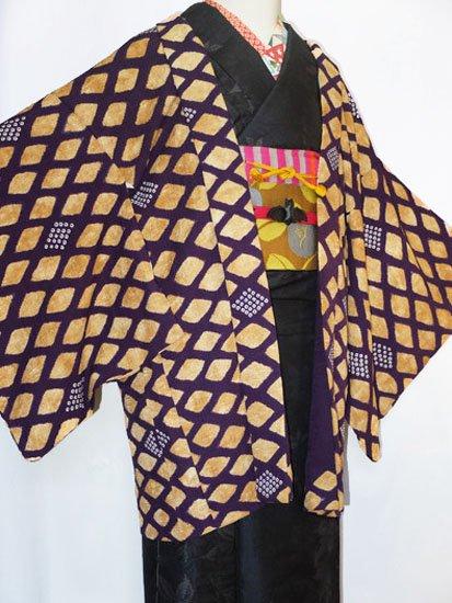 正絹 羽織 ☆☆☆ 【C】 (65.5/77.5/47) 斜め格子 鹿の子 中古-1