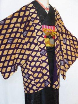正絹 羽織 ☆☆☆ 【C】 (65.5/77.5/47) 斜め格子 鹿の子 中古