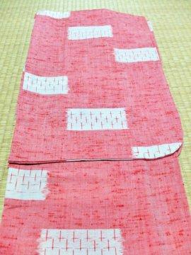単衣仕立てのウールの着物【低価格品】☆ 【D/R/W】 (67/159/48.5) 十字 中古