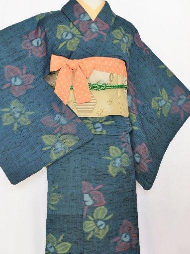 単衣仕立てのウールの着物 ☆☆☆ 【B/R】 (64/156.5/50.5) 花 中古 -