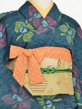 単衣仕立てのウールの着物 ☆☆☆ 【B/R】 (64/156.5/50.5) 花 中古