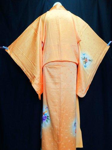 正絹 袷の付下訪問着 ☆☆☆ 【C/R】(65.5/159.5/64)菊 牡丹 刺繍 中古-