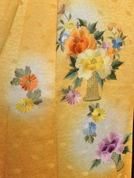 正絹 袷の付下訪問着 ☆☆☆ 【C/R】(65.5/159.5/64)菊 牡丹 刺繍 中古
