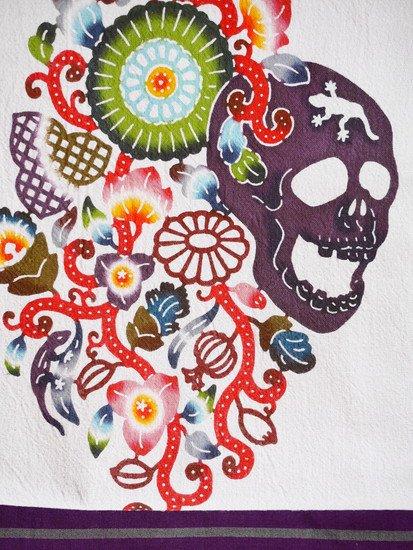 《販売終了》 紅若菜×ワモノヤトウキョウジョウ コラボ名古屋帯 「髑髏と南国の花」 【紅型染め屋 紅若菜】-