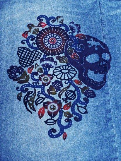《販売終了》 巡MEGURU×紅若菜コラボ 紅型デニム着物 「髑髏と南国の花」 Men's 【紅型染め屋紅若菜】-