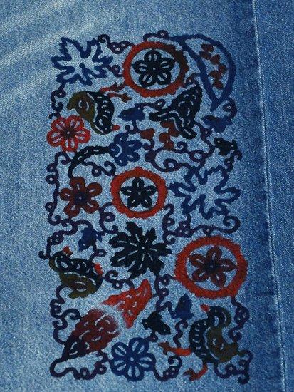 《販売終了》 巡MEGURU×紅若菜コラボ 紅型デニム着物 「ゴーヤとヤンバルクイナ」 Lady's 【紅型染め屋紅若菜】-