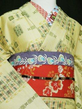 正絹 袷の紬 ☆☆☆ 【C/R/W】 (65/158.5/55) 蝶 絣 中古