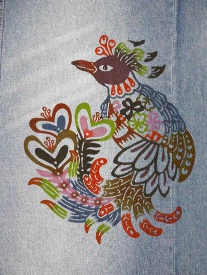 《販売終了》 巡MEGURU×紅若菜コラボ 紅型デニム着物 「尾長鳥」 Lady's 【紅型染め屋紅若菜】-