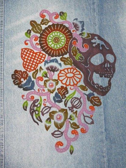 《販売終了》 巡MEGURU×紅若菜コラボ 紅型デニム着物 「髑髏と南国の花」 Lady's 【紅型染め屋紅若菜】-