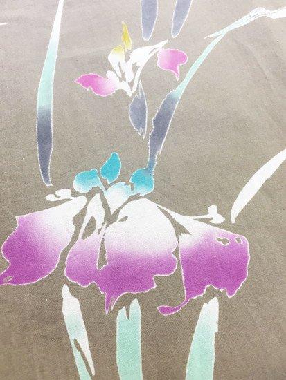 綿 中古の浴衣 ☆☆ 【B/S】(64.5/149/44.5)注染 菖蒲 蜻蛉-