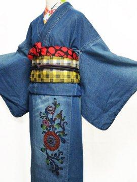 巡MEGURU×紅若菜コラボ 紅型デニム着物 「菊唐草」 Lady's 【紅型染め屋紅若菜】●11/11