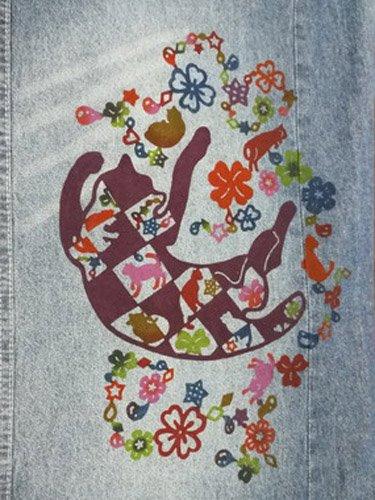 巡MEGURU×紅若菜コラボ 紅型デニム着物 「市松猫」 Lady's 【紅型染め屋紅若菜】●11/11-