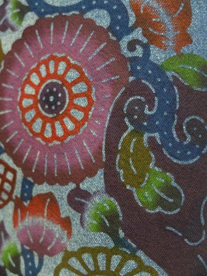巡MEGURU×紅若菜コラボ 紅型デニム着物 「髑髏と南国の花」 Lady's 【紅型染め屋紅若菜】●11/11-