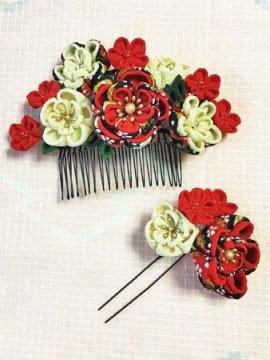 つまみ細工の髪飾りセット 赤 ☆☆☆☆☆ 【手作りいっぱい さんちゃお】