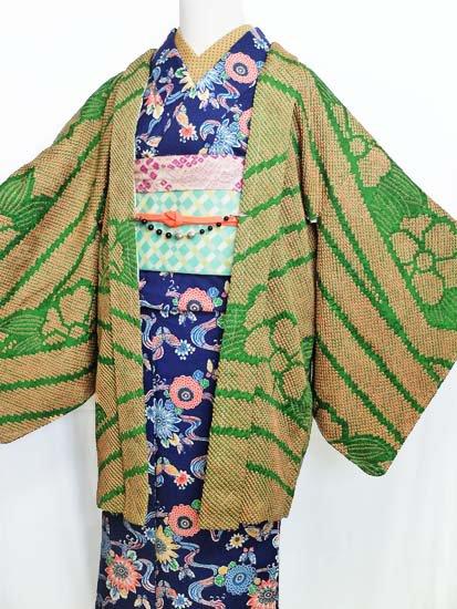 正絹 羽織 ☆☆☆☆ 【C】 (66/78/51)花 絵羽 絞り 【特選】【未使用品】-1