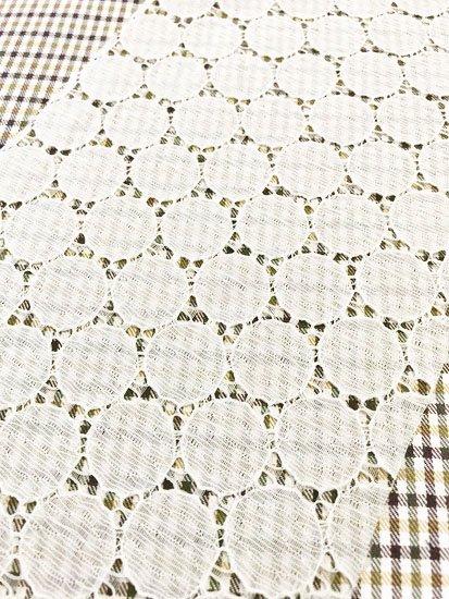 化繊 カットクロスの半衿 サークルレース アイボリー-1
