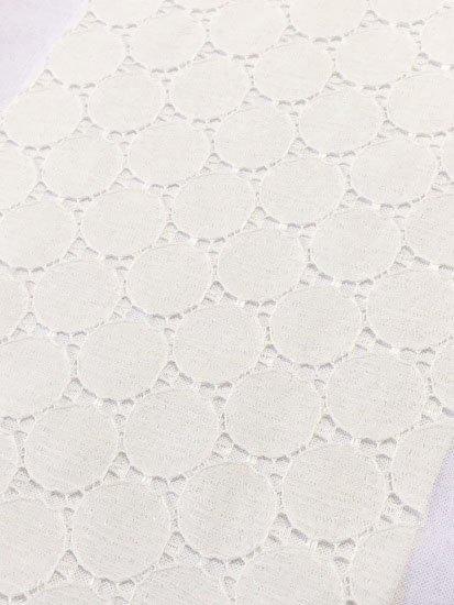化繊 カットクロスの半衿 サークルレース アイボリー-