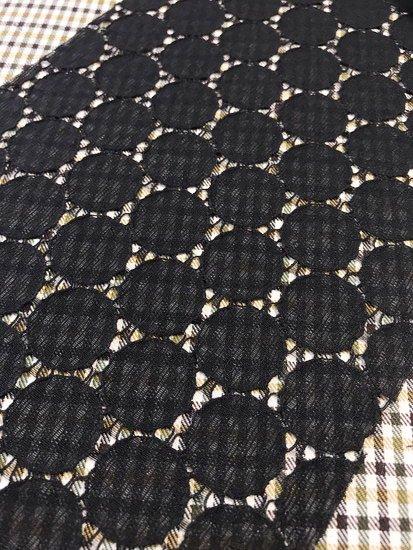 化繊 カットクロスの半衿 サークルレース ブラック-1