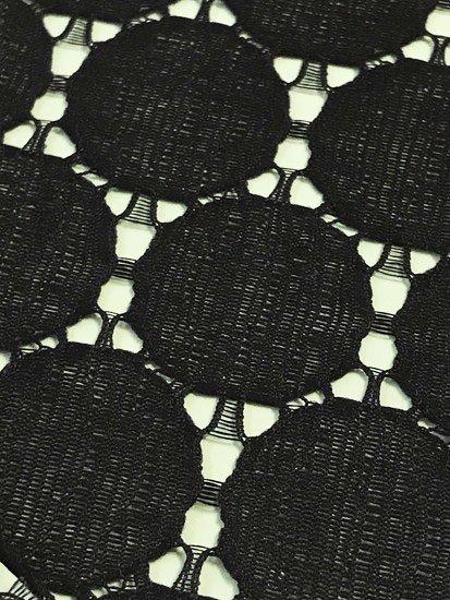 化繊 カットクロスの半衿 サークルレース ブラック-