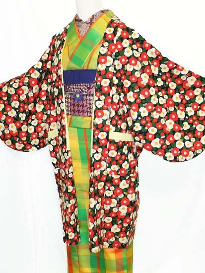 《販売終了》 ふだんきもの杏オリジナル「杏コート」Mサイズ 【D/長丈】 (67/96/45) 猫椿  -1