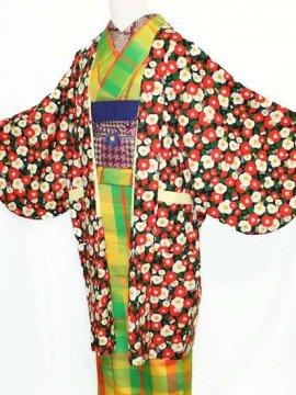 ふだんきもの杏オリジナル「杏コート」Mサイズ 【D/長丈】 (67/96/45) 猫椿  ●12/11