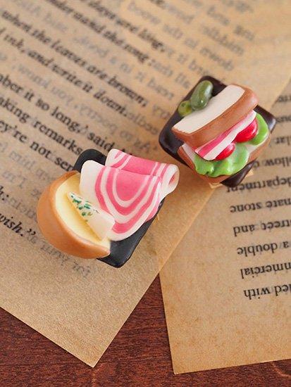 帯留め 「生ハムとチーズ 」「 サンドイッチ 」 【C:Robotコヤナギアイコ】 -1