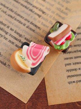帯留め 「生ハムとチーズ 」「 サンドイッチ 」 【C:Robotコヤナギアイコ】