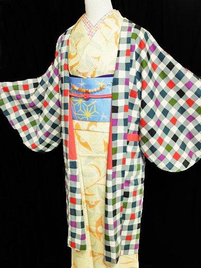 ふだんきもの杏オリジナル「杏コート」Lサイズ 【D/長丈】 (68/101/45) シャボン玉-1