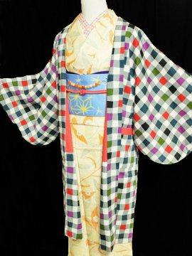 ふだんきもの杏オリジナル「杏コート」Lサイズ 【D/長丈】 (68/101/45) カラフル格子