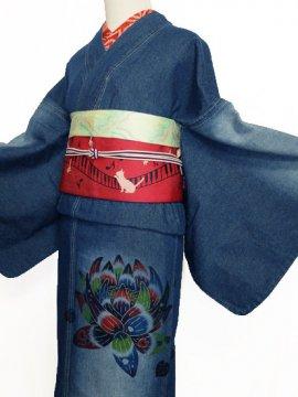 ≪販売終了≫ 巡MEGURU×紅若菜コラボ 紅型デニム着物 「蓮」 (71/157/48) 【紅型染め屋 紅若菜】