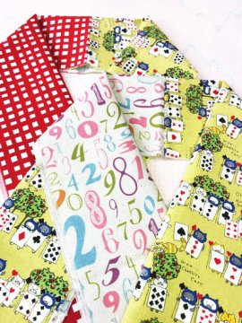綿 カットクロスの半衿 片身替わり トランプ猫×格子/数字