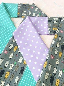 綿 カットクロスの半衿 片身替わり お洗濯猫×ドット