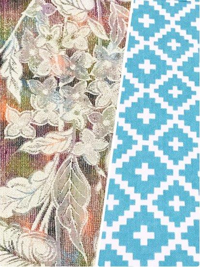ハンドメイド半幅帯 【長尺】 (16/393) 花 ギザギザ格子 リメイク ●9/15-1