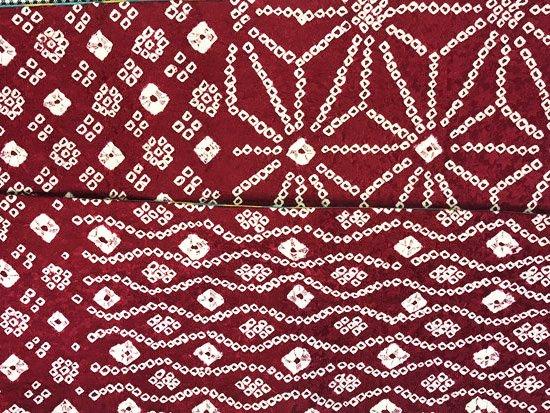 ハンドメイド半幅帯 【長尺】 (16/407) 絞り 麻の葉 斜め格子 立涌 数珠繋ぎ リメイク-