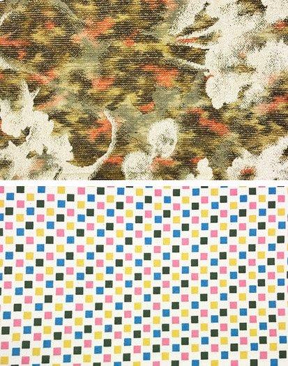 ハンドメイド半幅帯 【長尺】 (16/393) 抽象植物紋 四角 リメイク-