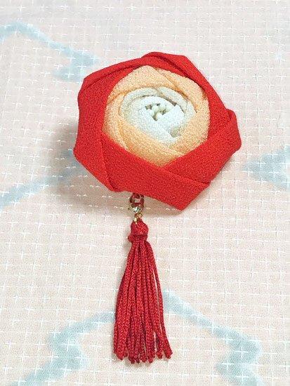 大きなつまみ細工の2way髪飾り バラ  【手作りいっぱい さんちゃお】  -1