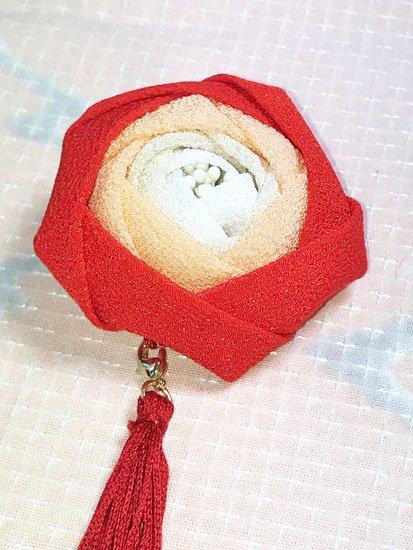 大きなつまみ細工の2way髪飾り バラ  【手作りいっぱい さんちゃお】  -