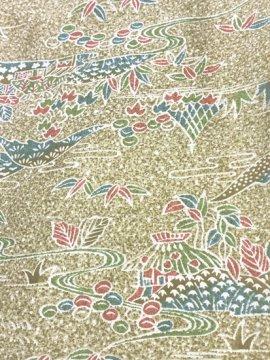 正絹 袷の小紋 ★★★★★ 【B/S】 (63/146.5/49)植物紋 家屋 山 【未使用品】