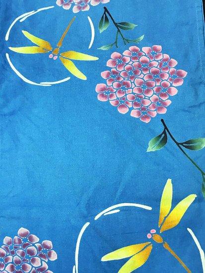 綿 中古の浴衣 ★ 【C/R/W】(65/154/48.5)紫陽花 蜻蛉 注染-1