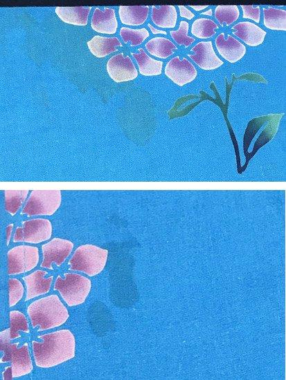 綿 中古の浴衣 ★ 【C/R/W】(65/154/48.5)紫陽花 蜻蛉 注染-
