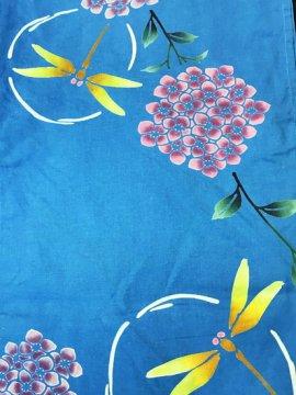 綿 中古の浴衣 ★ 【C/R/W】(65/154/48.5)紫陽花 蜻蛉 注染