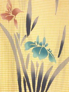 綿麻 中古の浴衣 ★★★ 【D/R】(67.5/155.5/46)菖蒲 ギンガムチェック 注染