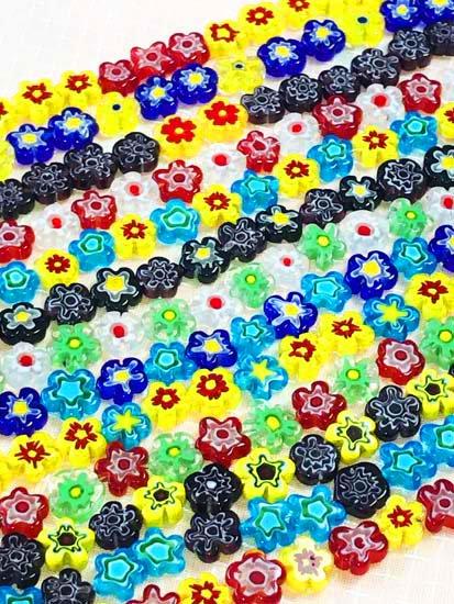 ガラスビーズの羽織チェーン 花モチーフ-1