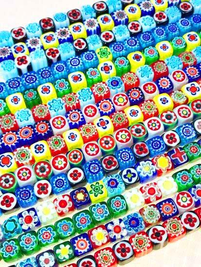 ガラスビーズの羽織チェーン キューブ-1