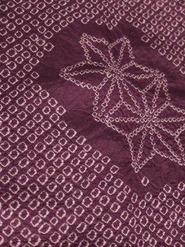 正絹 袷の小紋 ★★★ 【B/S】(64/143/60)麻の葉 絞り アンティーク