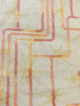 正絹 袷の紬 ★★★★★ 【B/R】 (64.5/156.5/49) 幾何学 絣紋 【未使用品】