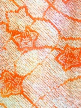 絹 袷の小紋 ★★★★ 【B/R】 (63/152/48.5) 桔梗 絞り 中古