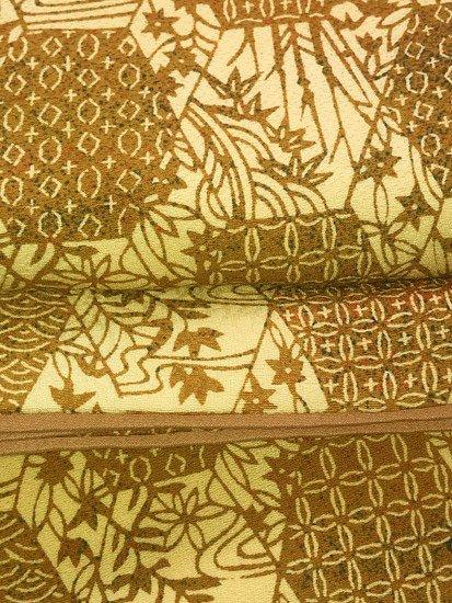 正絹 袷の小紋 ★★★★★ 【B/R】 (63.5/152.5/47.5) 亀甲重ね 割付紋 植物紋 【未使用品】-